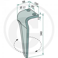 Ząb brony aktywnej lewy 180RH-MAS-75R Maschio