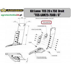 Ostrze prawe TCS 20x750 Agrisem